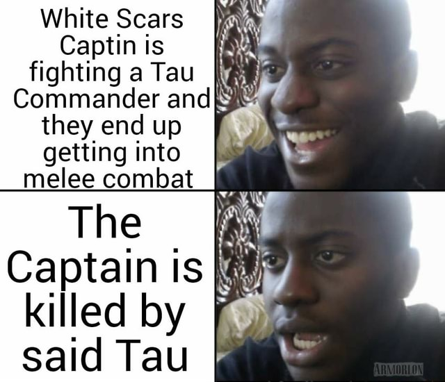 White Scars Captin is fighting a Tau Commander and they end up getting into melee combat The Captain is killed by said Tau memes