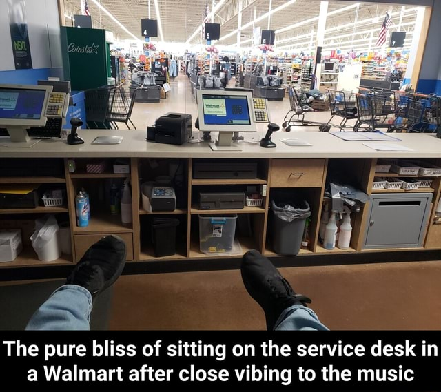 The pure bliss of sitting on the service desk in Walmart after close vilbing to the music  The pure bliss of sitting on the service desk in a Walmart after close vibing to the music meme