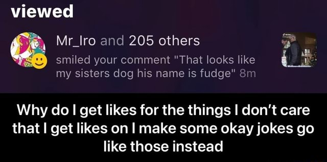 Viewed Mr Iro and 205 others smiled your comment That looks like my sisters dog his name is fudge Why do get likes for the things I do not care that get likes on I make some okay jokes go like those instead  Why do I get likes for the things I don't care that I get likes on I make some okay jokes go like those instead meme