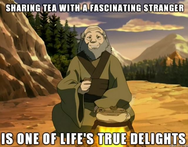 SHARING TEA WITH A FASCINATING STRANGER IS ONE OF LIFE'S TRUE DELIGHTS meme