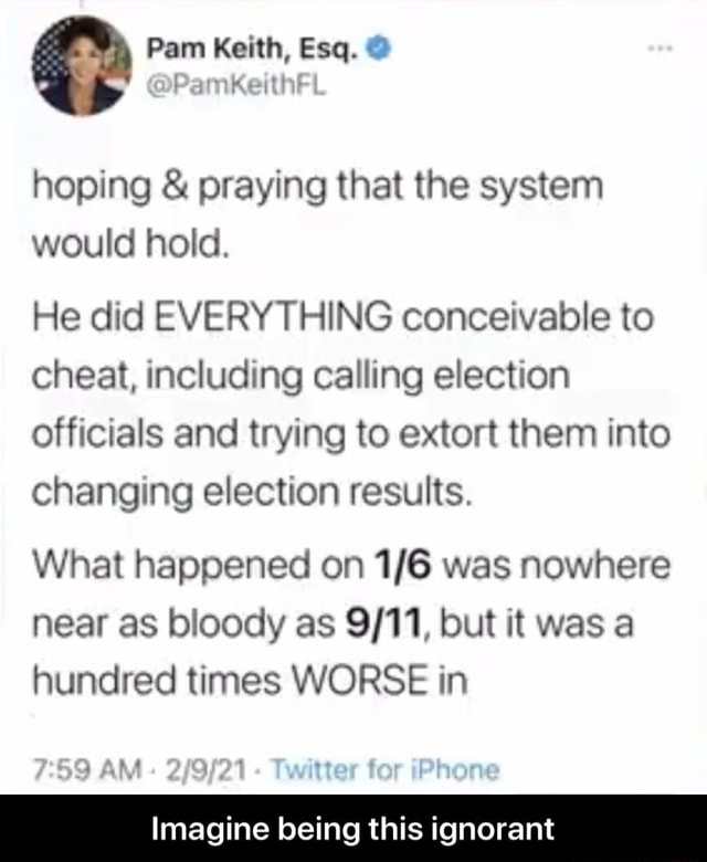 Pam Keith, Esq.  hoping  and  praying that the system would hold. He did EVERYTHING conceivable to cheat, including calling election officials and trying to extort them into changing election results. What happened on was nowhere near as bloody as but it was a hundred times WORSE in hea Imagine being this ignorant  Imagine being this ignorant memes