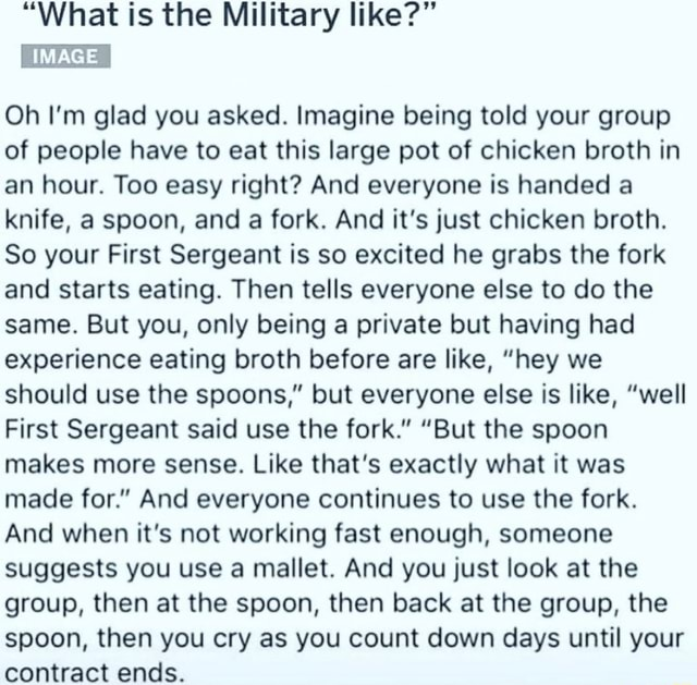 What is the Military like  IMAGE Oh I'm glad you asked. Imagine being told your group of people have to eat this large pot of chicken broth in an hour. Too easy right And everyone is handed a knife, a spoon, and a fork. And it's just chicken broth. So your First Sergeant is so excited he grabs the fork and starts eating. Then tells everyone else to do the same. But you, only being a private but having had experience eating broth before are like, hey we should use the spoons, but everyone else is like, well First Sergeant said use the fork.  But the spoon makes more sense. Like that's exactly what it was made for. And everyone continues to use the fork. And when it's not working fast enough, someone suggests you use a mallet. And you just look at the group, then at the spoon, then back at t