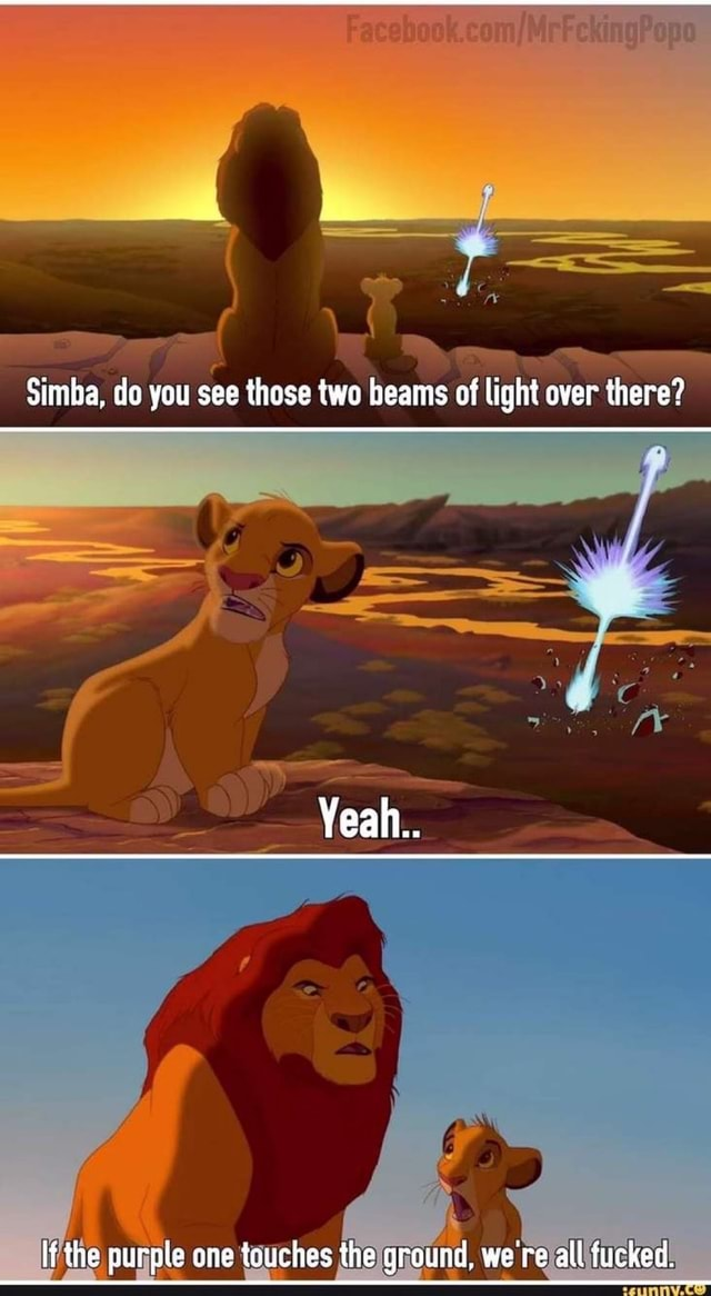 Simba, de you see those two beams of light over there Yeah. if the purple one touches the ground, were all jucked memes