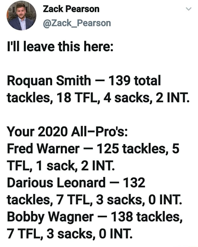 Zack Pearson Zack Pearson I'll leave this here Roquan Smith 139 total tackles, 18 TFL, 4 sacks, 2 INT. Your 2020 All Pro's Fred Warner 125 tackles, 5 TEL, 1 sack, 2 INT. Darious Leonard 132 tackles, 7 TFL, 3 sacks, INT. Bobby Wagner 138 tackles, 7 TEL, 3 sacks, INT memes