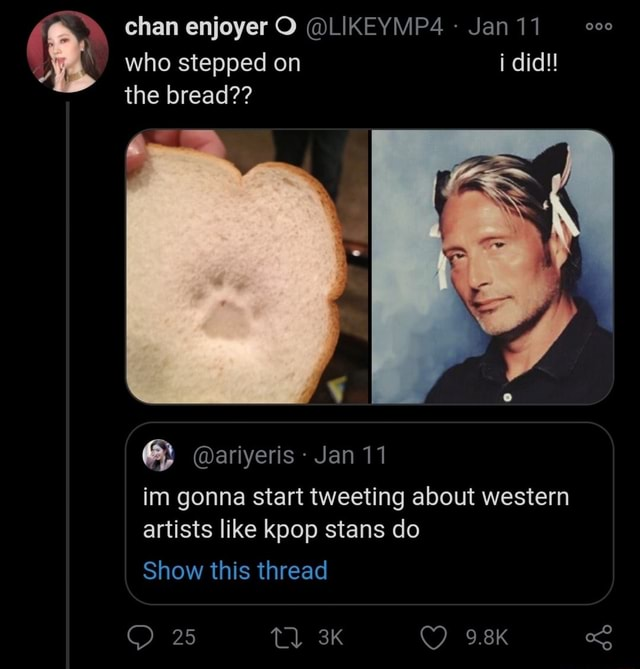 Chan enjoyer O LIKEYMP4 Jan 11 who stepped on i did the bread ariyeris Jan 11 im gonna start tweeting about western artists like kpop stans do Show this thread 25 9.8K memes