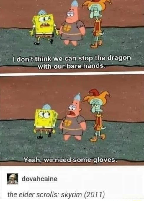 Do not think we can stop the dragon with our bare hands 42 Yeah. we need some gloves the elder scrolls skyrim 2011 memes