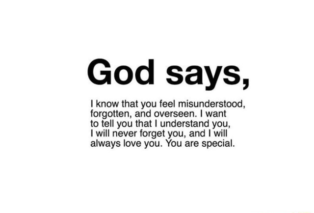 God says, know that you feel misunderstood, forgotten, and overseen. I want to tell you that I understand you, will never forget you, and I will always love you. You are special memes