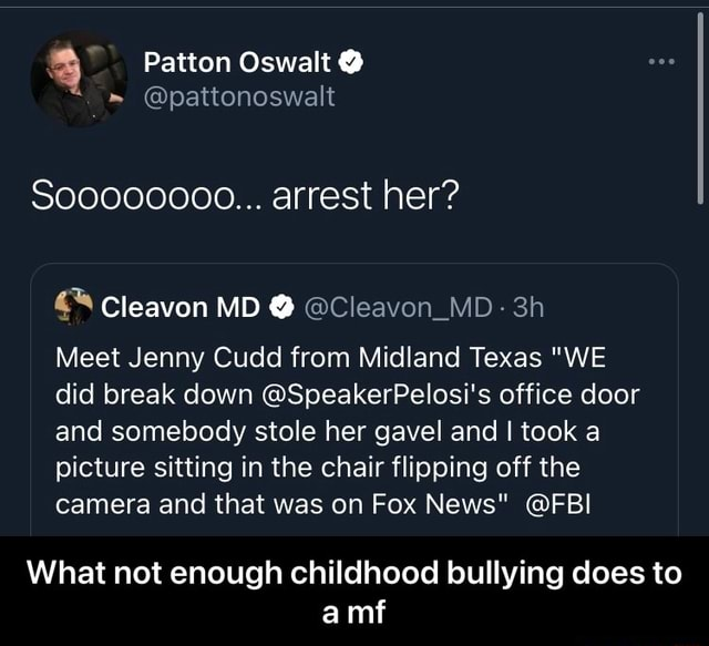 Patton Oswalt So00000000 arrest her Meet Jenny Cudd from Midland Texas WE did break down SpeakerPelosi's office door and somebody stole her gavel and I took a picture sitting in the chair flipping off the camera and that was on Fox News FBI What not enough childhood bullying does to amf What not enough childhood bullying does to a mf memes