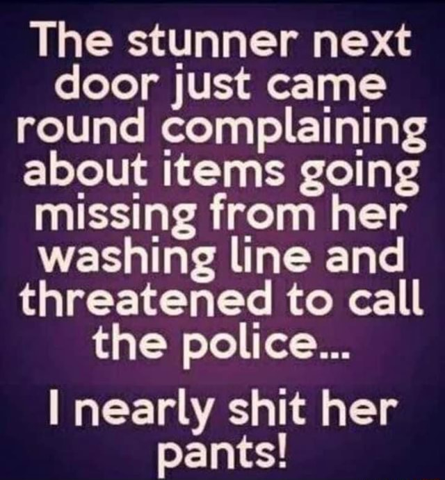 The stunner next door just came round complaining about items going missing from her washing line and threatened to call the police nearly shit her pants meme