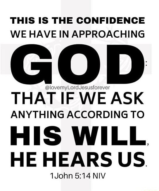 THIS IS THE CONFIDENCE WE HAVE IN APPROACHING GOD THAT IF WE ASK ANYTHING ACCORDING TO HIS WILL HE HEARS US. John NIV meme