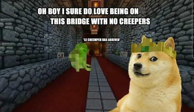 OH BOY SURE BEING ON THIS BRIDGE WITH NO CREEPERS op LE SHEER EES OAS ARRIVED memes