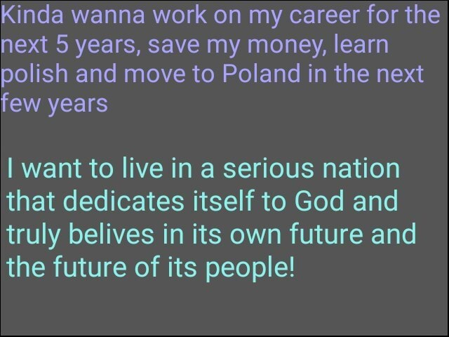 Kinda wanna work on my career for the next 5 years, save my money, learn polish and move to Poland in the next few years I want to live in a serious nation that dedicates itself to God and truly belives in its own future and the future of its people meme