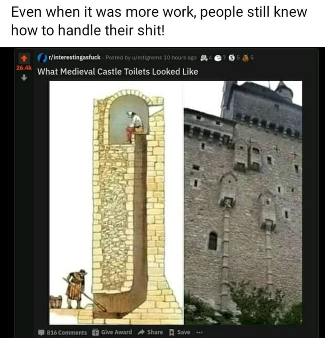 Even when it was more work, people still knew how to handle their shit rinterestingasfuck eS What Medieval Castle Toilets Looked Like memes