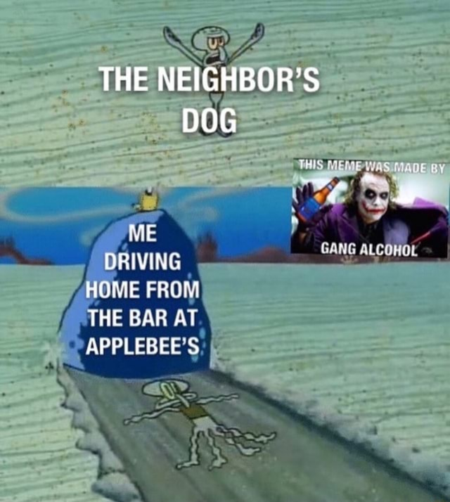 THE NEIGHBOR'S DOG THIS MEME MADE BY GANG NE DRIVING HOME RE THE BAR AT APPLE