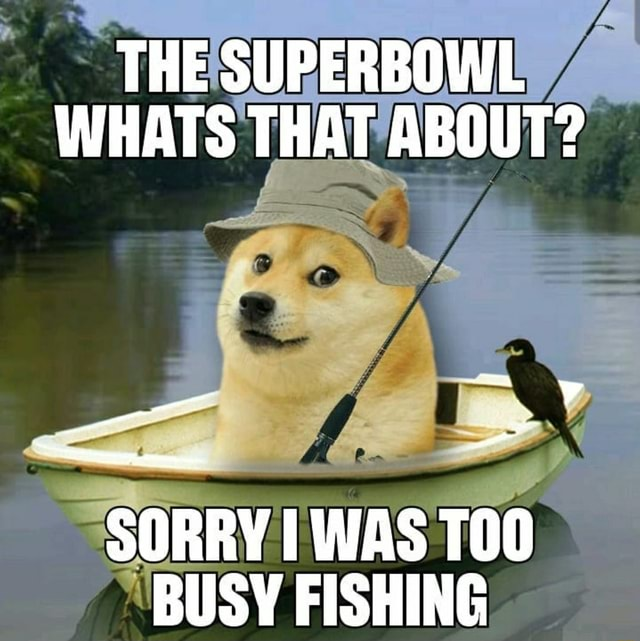 THE SUPERBOWL WHATS THAT ABOUT SORRY WAS BUSY FISHING meme