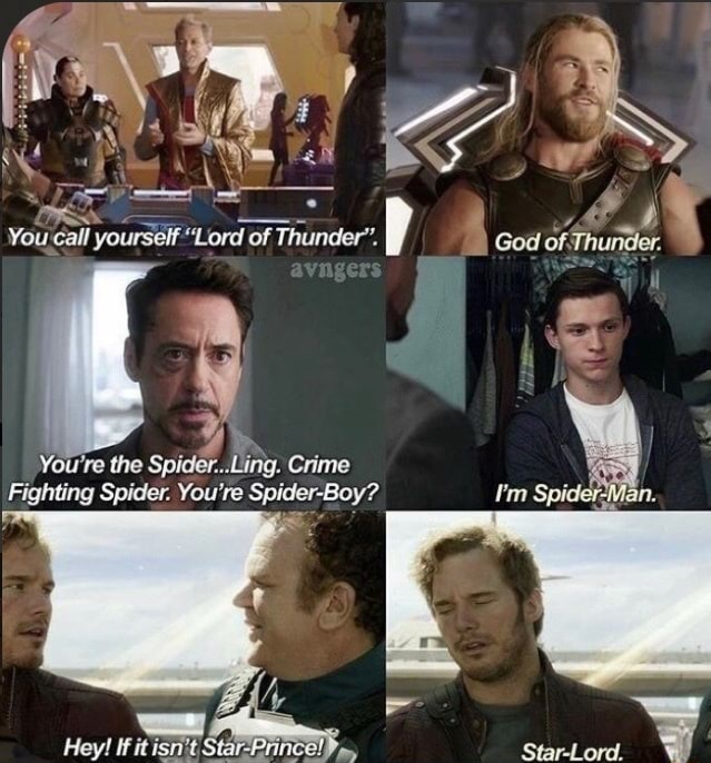Vouta Call yourself Lord of Thunder'. God of Thunder. You're the Ling. Crime Fighting Spider. You're Spider Boy I'm Spider Man. Heyl Star Lord memes