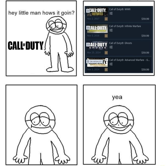 Call of WWII hey little man hows it goin ALL DUTY Call of Infir call of Duty Adv DUTY ON WISHLIST ADMAN memes
