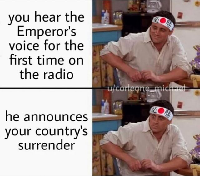 You hear the Emperor's voice for the first time on the radio mic he announces your country's surrender memes