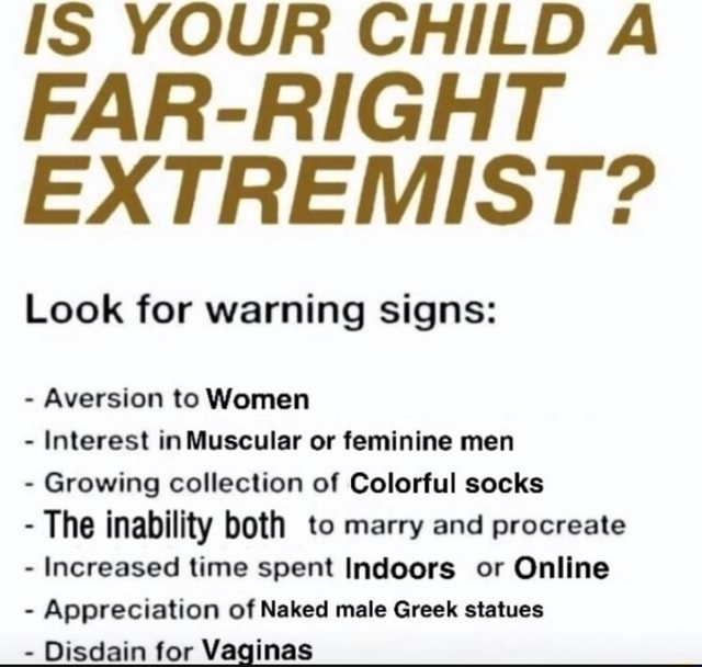 IS YOUR CHILD A FAR RIGHT EXTREMIST Look for warning signs  Aversion to Women Interest in Muscular or feminine men  Growing collection of Colorful socks  The inability both to marry and procreate  Increased time spent Indoors or Online  Appreciation of Naked male Greek statues  Disdain for Vaginas meme