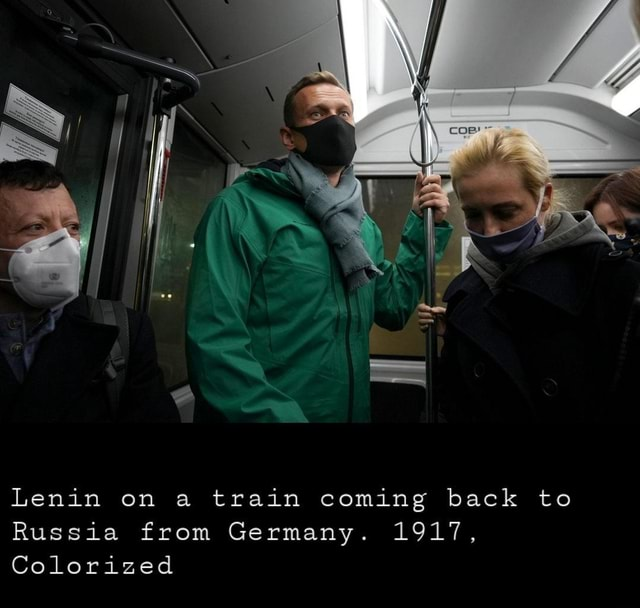 Lenin on a train coming back to Russia from Germany. 1917, Colorized memes