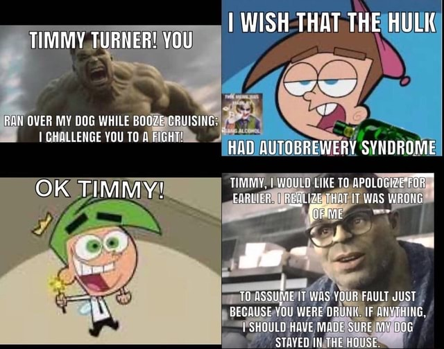 I WISH THAT THE HULK TIMMY TURNER YOU RAN OVER MY DOG WHILE BOOZE CRUISING CHALLENGE YOU TO FIGHT HAD AUTOBREWERY SYNDROME TIMMY, I WOULD LIKE APOLOGIZEFOR OK TIMMY EARLIER. I REALIZE THAT IT WAS WRONG Ja ul IT IT WAS YOUR FAULT JUST BECAUSE YOU WERE DRUNK. IF ANYTHING, SHOULD HAVE MADE SURE MY DOG STAYED THE HOUSE memes
