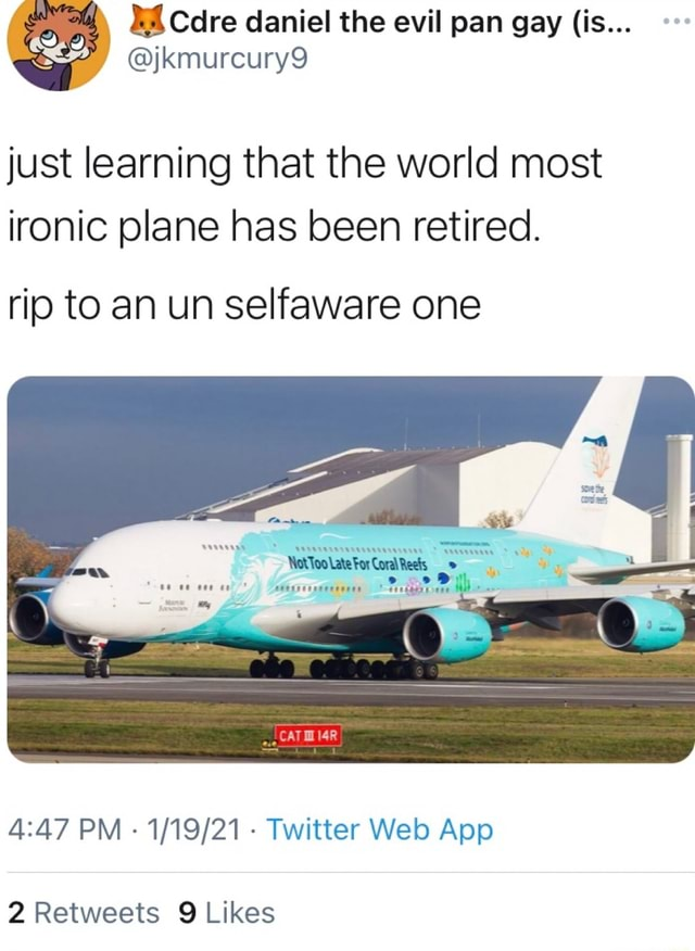 Kmurcury9 just learning that the world most ironic plane has been retired. rip to an un selfaware one PM Twitter App meme