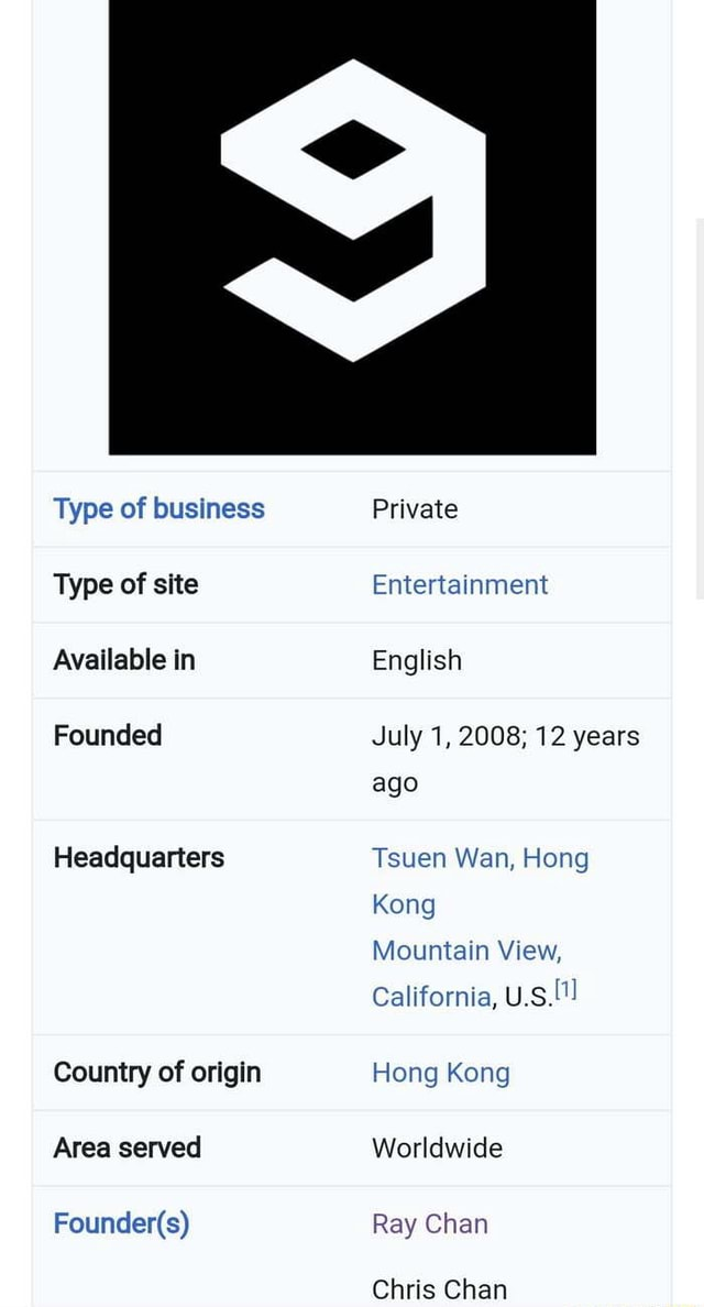 Type of business Type of site Available in Founded Headquarters Country of origin Area served Private Entertainment English July 1, 2008 12 years ago Tsuen Wan, Hong Kong Mountain View, California, U.S. Hong Kong Worldwide Ray Chan memes