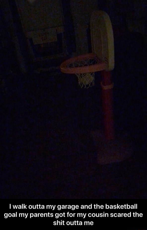 Walk outta my garage and the basketball goal my parents got for my cousin scared the shit outta me I walk outta my garage and the basketball goal my parents got for my cousin scared the shit outta me memes