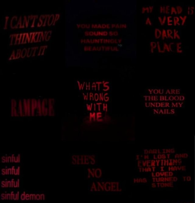 MY HEAD {5 CANT STOP oxrranocram WERY THINKING DARK wit WITH RAMPAGE BEAUTIFUL PLACE sintul SHES sinful NO sinful ANGEL stone sinful demon meme