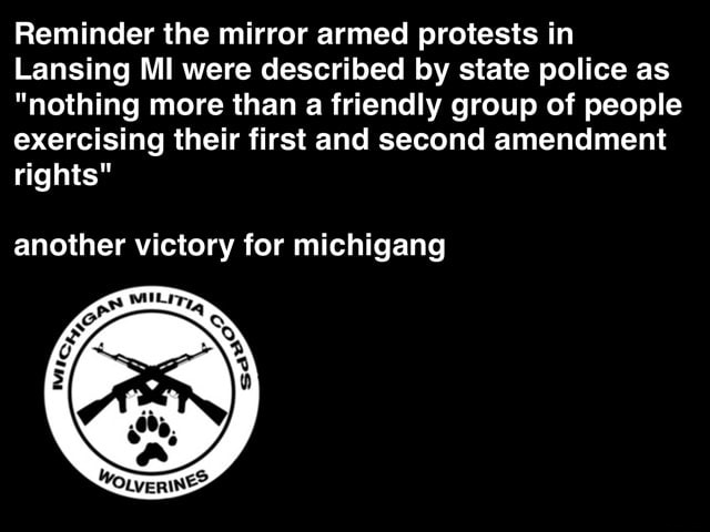 Reminder the mirror armed protests in Lansing MI were described by state police as nothing more than a friendly group of people exercising their first and second amendment rights another victory for michigang memes
