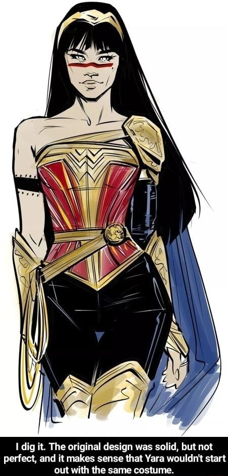 Dig it. The original design was solid, but not perfect, and it makes sense that Yara wouldn't start out with the same costume memes