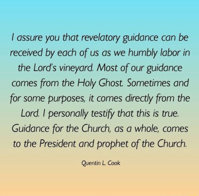 Assure you that revelatory guidance can be received by each of us as we humbly labor in the Lord's vineyard. Most of our guidance comes from the Holy Ghost. Sometimes and for some purposes, it comes directly from the Lord. I personally testify that this is true. Guidance for the Church, as a whole, comes to the President and prophet of the Church. Quentin L. Cook memes