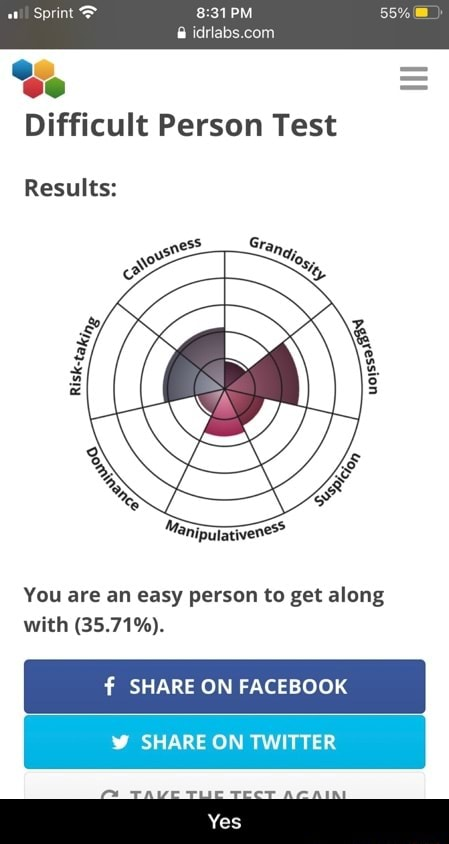 Sprint Se PM Difficult Person Test Results You are an easy person to get along with 35.71% . SHARE ON FACEBOOK SHARE ON TWITTER  Yes memes