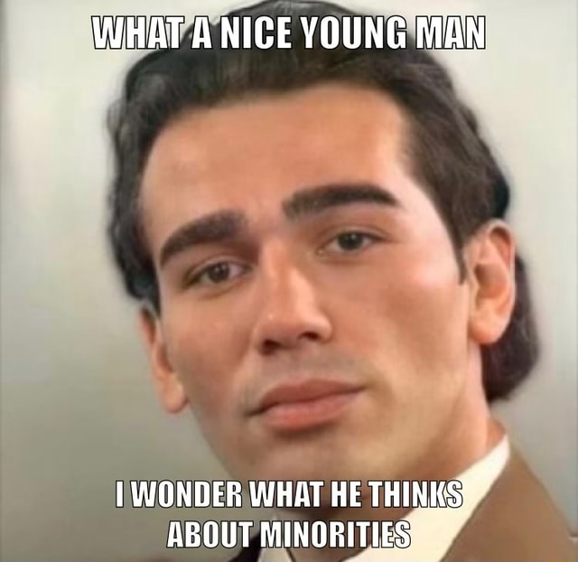 WHAT A NICE YOUNG MAN WONDER WHAT HE THINKS ABOUT MINORITIES, meme