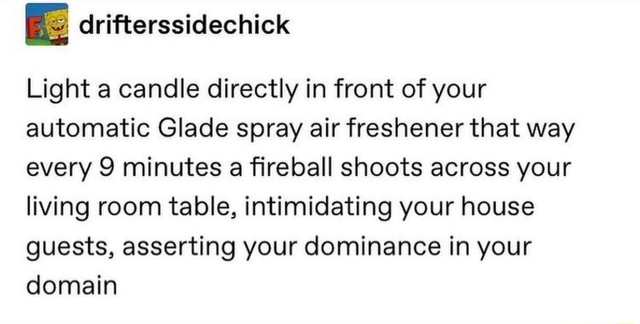 Light a candle directly in front of your automatic Glade spray air freshener that way every 9 minutes a fireball shoots across your living room table, intimidating your house guests, asserting your dominance in your domain memes