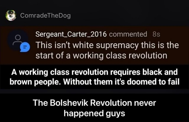 ComradeTheDog Sergeant Carter commented This isn't white supremacy this is the start of a working class revolution A working class revolution requires black and brown people. Without them it's doomed to fail The Bolshevik Revolution never happened guys  The Bolshevik Revolution never happened guys memes