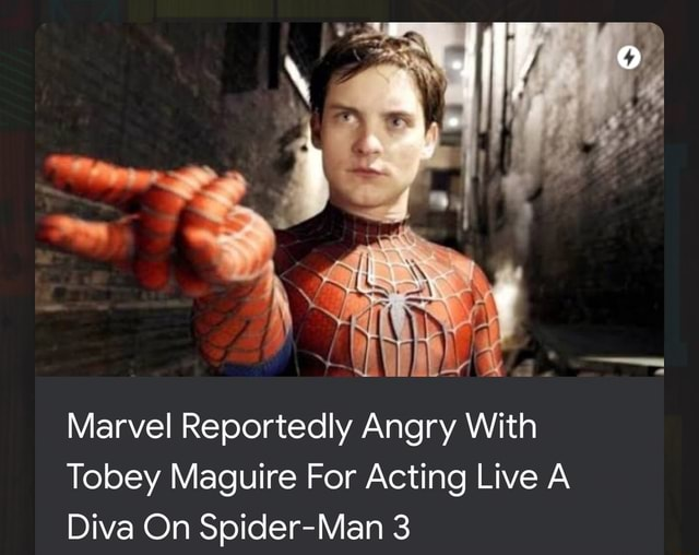 Marvel Reportedly Angry With Tobey Maguire For Acting Live A Diva On Spider Man 3 memes