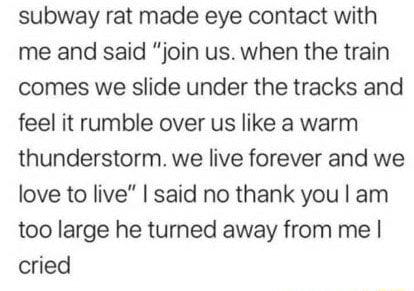 Subway rat made eye contact with me and said join us. when the train comes we slide under the tracks and feel it rumble over us like a warm thunderstorm. we live forever and we love to five I said no thank you I am too large he turned away from me I cried memes
