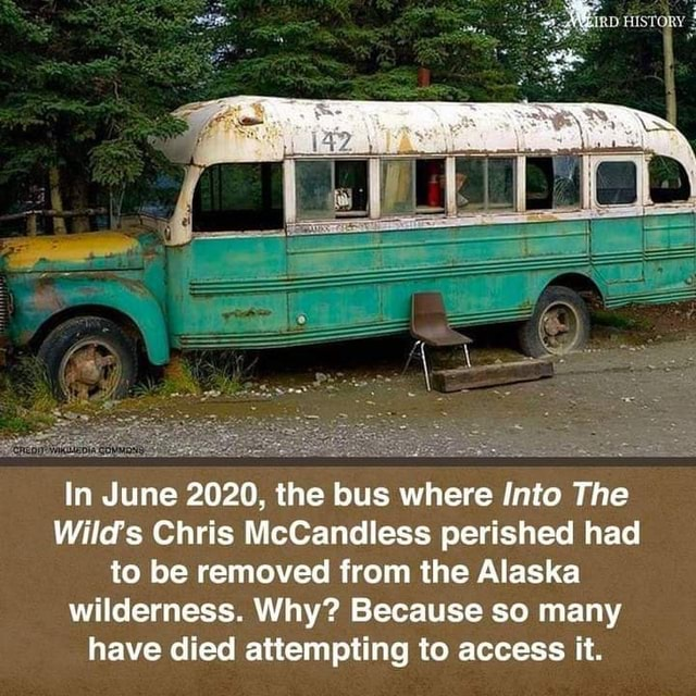 In June 2020, the bus where Into The Wild's Chris McCandless perished had to be removed from the Alaska wilderness. Why Because so many have died attempting to access it memes