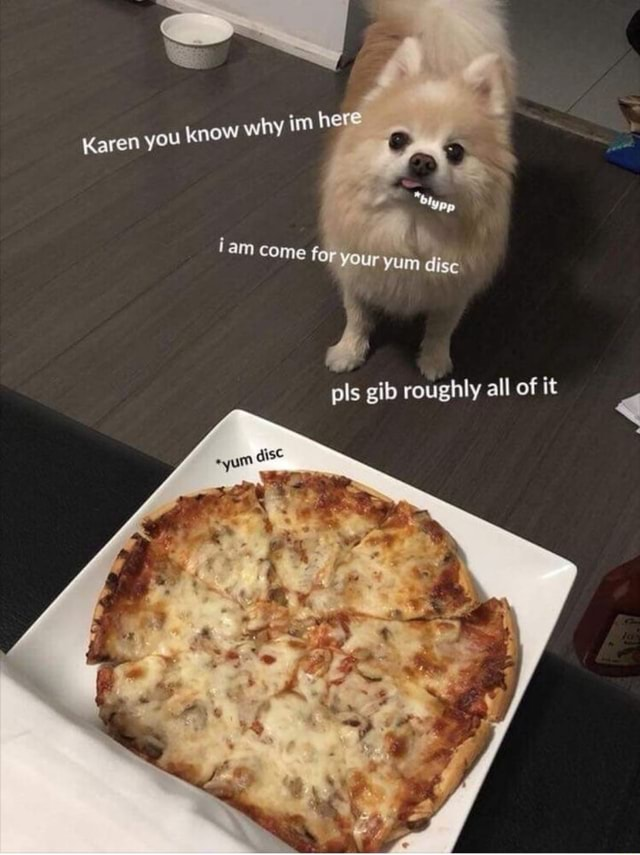 Karen you know why im here iam come f, pls gib roughly all of it yum disc memes
