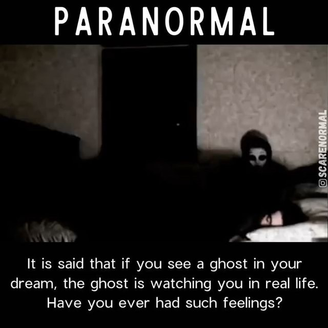 PARANORMAL It is said that if you see a ghost in your dream, the ghost is watching you in real life. Have you ever had such feelings meme
