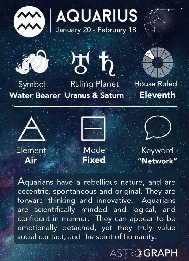 AQUARIUS January 20 February 18 Symbol Ruling Plane House Ruled Water Bearer Uranus and Saturn Eleventh Mode Keyword Air Fixed Network Aquarians have a rebellious nature, and are Element , eccentric, spontaneous and original. They are forward thinking and innovative. Aquarians are scientifically minded and logical, and confident in manner. They can appear to be emotionally detached, yet they truly value social contact, and the spirit of humanity. GRAPH meme