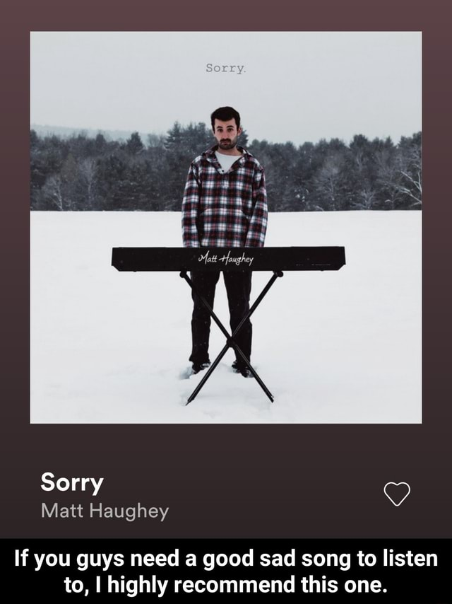 Sorry Matt Haughey If you guys need a good sad song to listen to, I highly recommend this one.  If you guys need a good sad song to listen to, I highly recommend this one meme