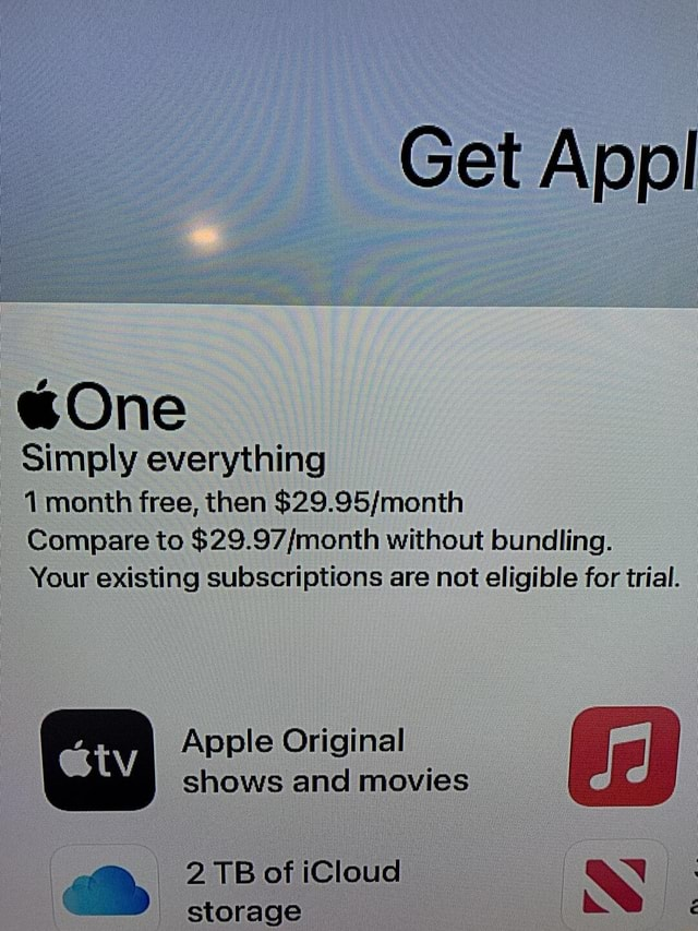 Get Appl Simply everything 1 month free, then Compare to without bundling. Your existing subscriptions are not eligible for trial Apple Original etv shows and movies 2 TB of iCloud a N etoranea memes