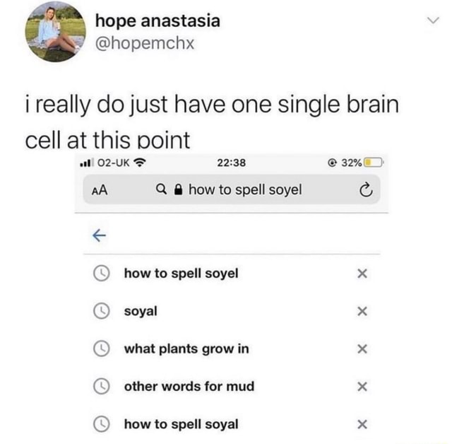 Hope anastasia i really do just have one single brain cell at this point aA Q  how to spell soyel SS how to spell soyel x soyal x what plants grow in x other words for mud x how to spell soyal x memes