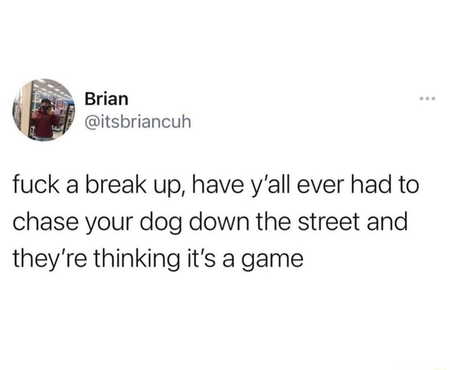Brian itsbriancuh fuck a break up, have y'all ever had to chase your dog down the street and they're thinking it's a game memes