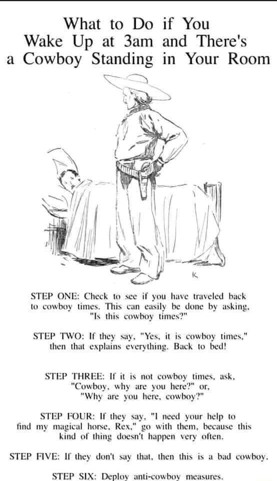 What to Do if You Wake Up at and There's a Cowboy Standing in Your Room STEP ONE Check see if you have iniveled beck ww cowbay times. This can casily be dune by ahing. Is this cowboy times  STEP TWO If they say. Yex. it cowbny times. then that cxplains everytung. Back to bed STEP THREE If not cowboy times. ask. Cowbyy. why are you here  or, Why are you here, cowboy STEP FOUR If they say. I need your help to find my magical horse, Rex, go with them, because this kind of thing doesn't happen very often. STEP FIVE If they do not say that, then this is a bad cowboy. STEP SIX Deploy anti cowboy measure meme
