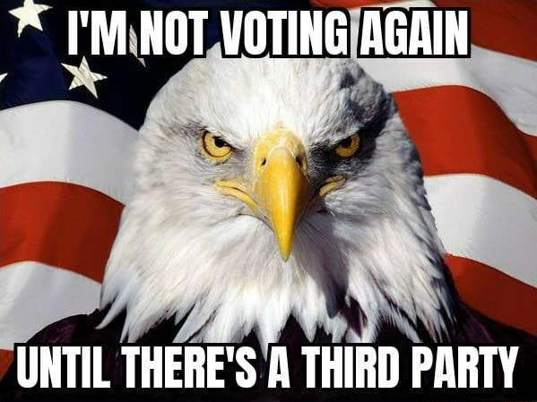 NOT VOTING AGAIN UNTIL THERE'S A THIRD PARTY memes