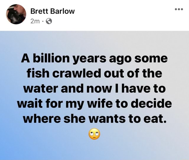 Brett Barlow am A billion years ago some fish crawled out of the water and now have to wait for my wife to decide where she wants to eat memes