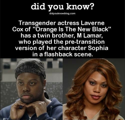 Did you know Transgender actress Laverne Cox of Orange Is The New Black has twin brother, M Lamar, who played the pre transition version of her character Sophia in a flashback scene. SS memes